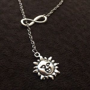 Adjustable Infinity Loop with Sun Charm Necklace